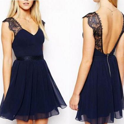 short bridesmaid dress, navy blue b..