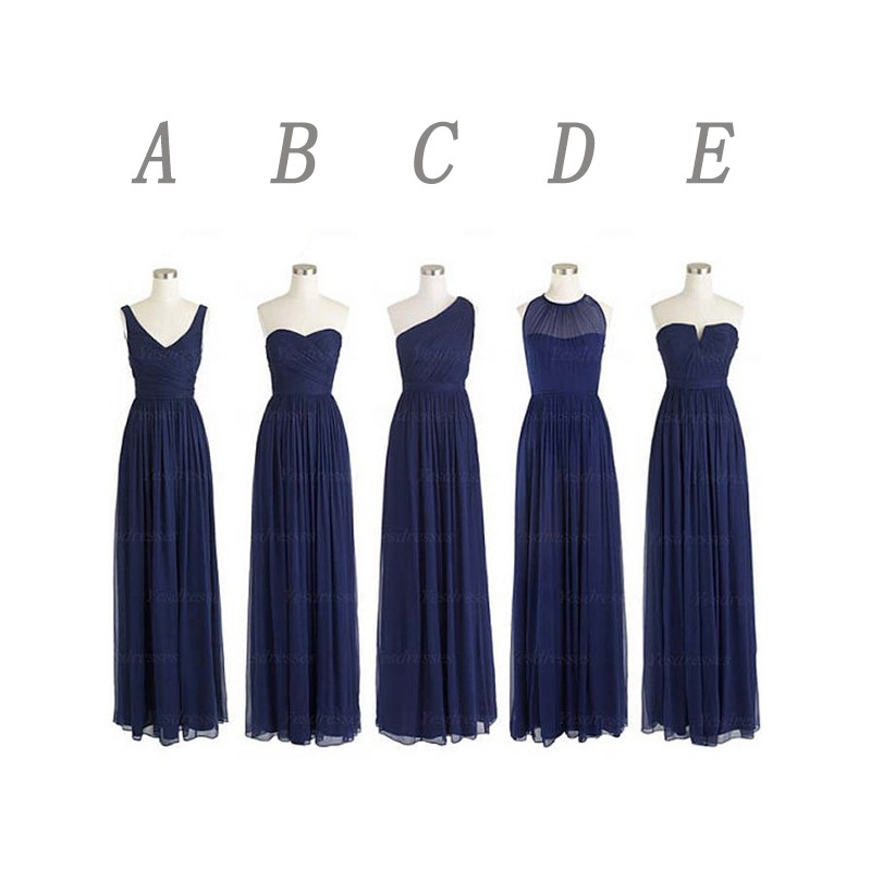Navy Blue Bridesmaid Dresses, Long Bridesmaid Dresses, Mismatched ...