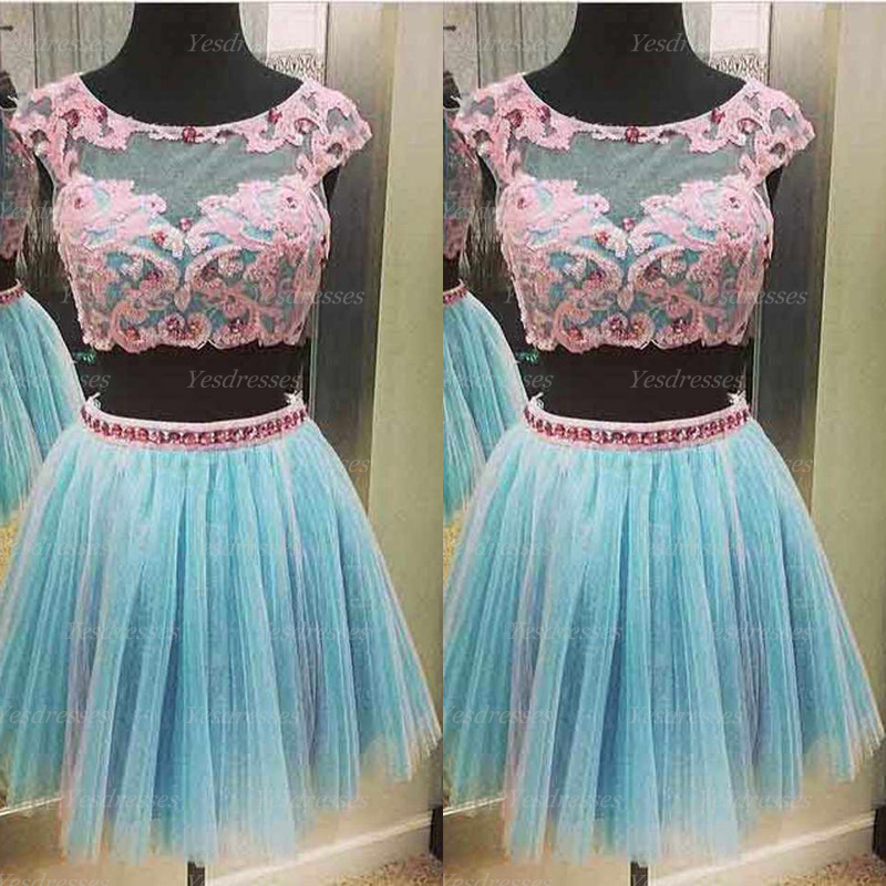 Short Prom Dress, Two Piece Prom Dress, Tulle