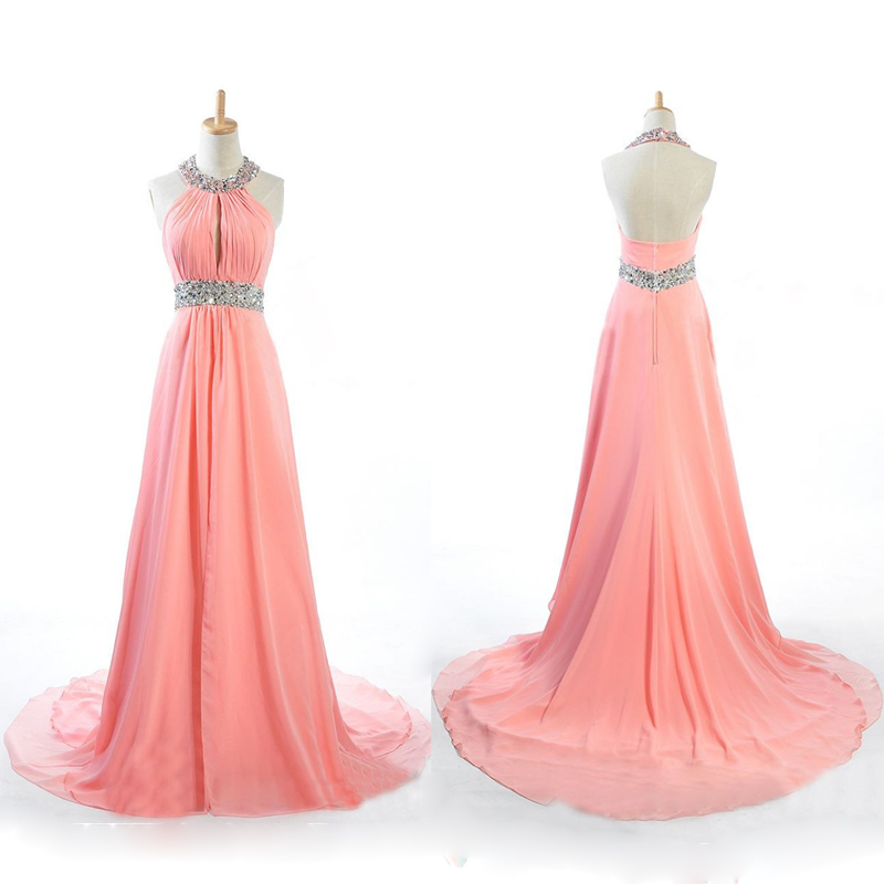Long Prom Dress, Peach Prom Dress, Chiffon Prom Dress, Cheap Prom ...
