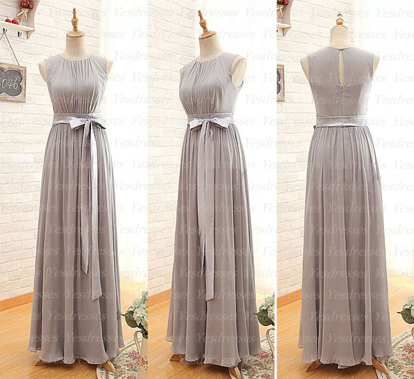 Chiffon Crew Neck Sleeveless Floor Length A-Line Bridesmaid Dress Featuring Bow Accent Belt