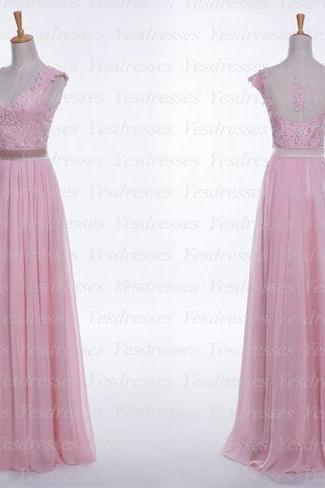 Pink Lace Appliques Plunge V Cap Sleeves Floor Length Chiffon A-Line Bridesmaid Dress