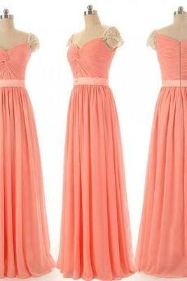 long bridesmaid dress, cap sleeve bridesmaid dress, sweet heart bridesmaid dress, 2015 bridesmaid dress, popular bridesmaid dress, PD15477