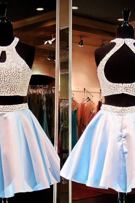 short homecoming dress, two piece prom dress, beading homecoming dress, junior homecoming dress, cheap homecoming dress, homecoming dress, PD15088