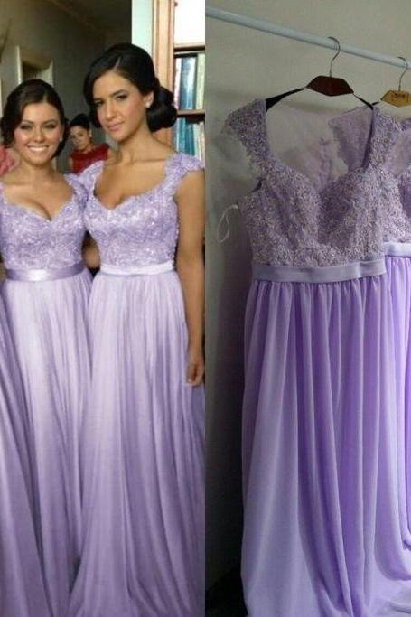 long bridesmaid dress, lilac bridesmaid dress, cap sleeve bridesmaid dress, 2015 bridesmaid dress, popular bridesmaid dress, PD15451