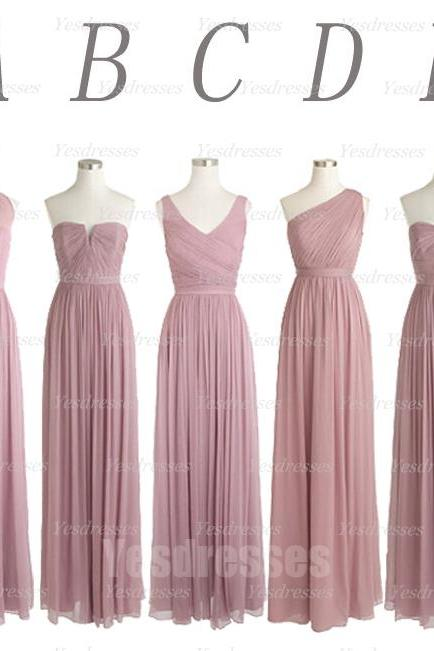 dusty thistle bridesmaid dress, mismatched bridesmaid dress, popular bridesmaid dress, long bridesmaid dress, chiffon bridesmaid dress, PD15421