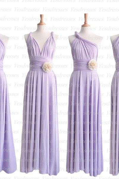 long bridesmaid dress, lilac bridesmaid dress, convertible bridesmaid dress, jersey bridesmaid dress, popular bridesmaid dress, PD15350