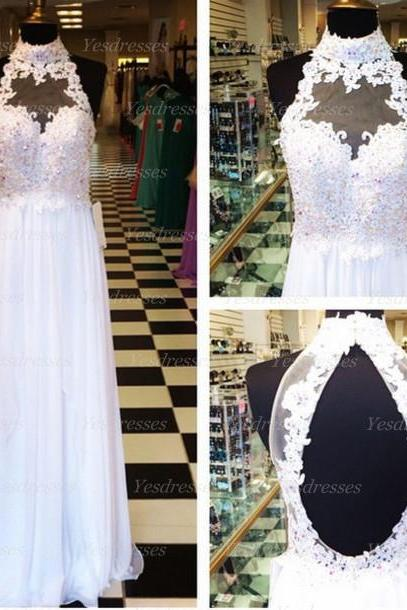 long prom dress, lace prom dress, backless prom dress, white prom dress, pretty prom dress, formal prom dress, PD15429
