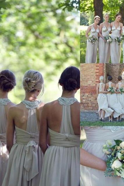 Long bridesmaid dress, custom bridesmaid dress, unique bridesmaid dress, chiffon bridesmaid dress, PD15405