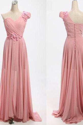long prom dress, one shoulder prom dress, elegant prom dress, cheap prom dress, blush pink prom dress, formal prom dress, junior prom dress, PD15364