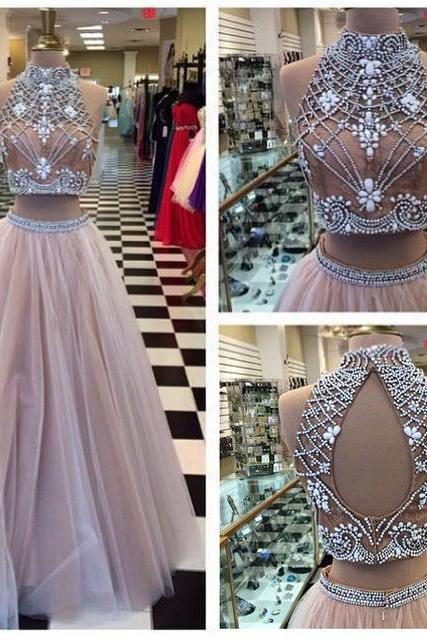 Two piece prom dress, long prom dress, pretty prom dress, open back prom dress, popular prom dress, sexy prom dress, charming prom dress, PD15388