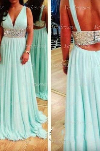 long prom dress, v-neck prom dress, off shoulder prom dress, chiffon prom dress, custom prom dress, blue prom dress, backless prom dress, PD15321