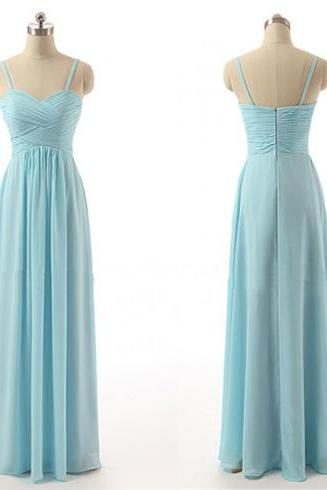 Light Blue Chiffon Ruched Sweetheart Spaghetti Straps Floor Length A-Line Bridesmaid Dress