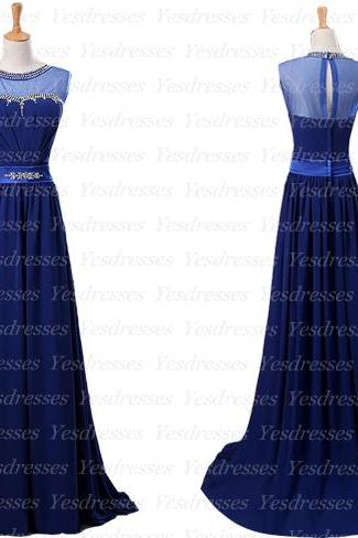 long prom dress, royal blue prom dress, cheap prom dress, chiffon prom dress, elegant prom dress, on sale prom dress, PD15297
