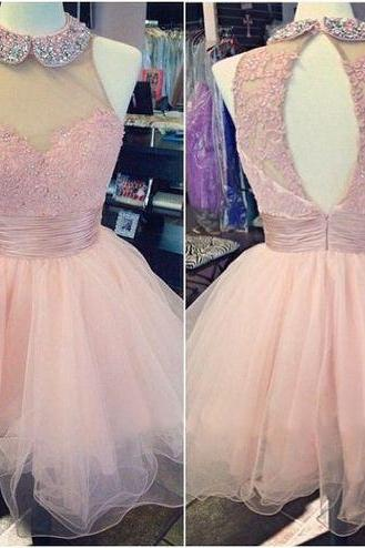Pink homecoming dress, open back homecoming dress, junior homecoming dress, lovely prom dress, pretty homecoming dress, PD15276