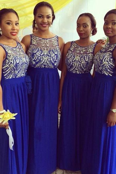 long bridesmaid dress, royal blue bridesmaid dress, round neck bridesmaid dress, off shoulder bridesmaid dress, 2015 bridesmaid dress, PD15210
