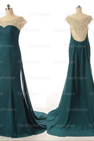 long prom dress, cap sleeve prom dress, green prom dress, unique prom dress, modest prom dress, beading prom dress, evening dress, PD15191