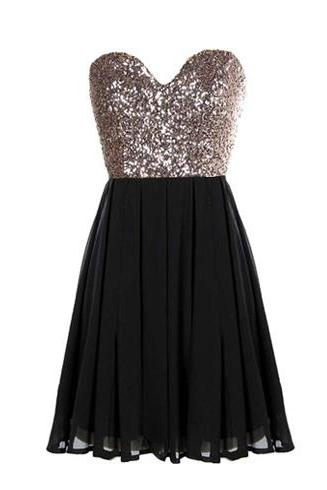Sequins Sweetheart Black Chiffon Short A-Line Bridesmaid Dress