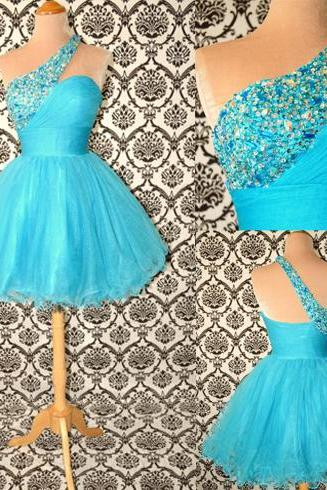Blue homecoming dress, one shoulder homecoming dress, elegant homecoming dress, charming homecoming dress, homecoming dress, PD15160