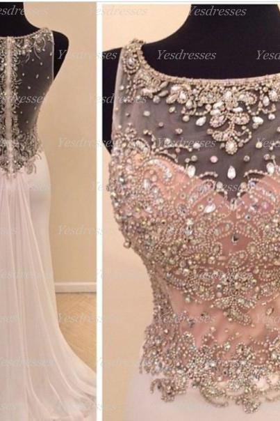 long prom dress, 2015 prom dress, pink prom dress, unique prom dress, modest prom dress, charming prom dress, round neck prom dress, PD15203