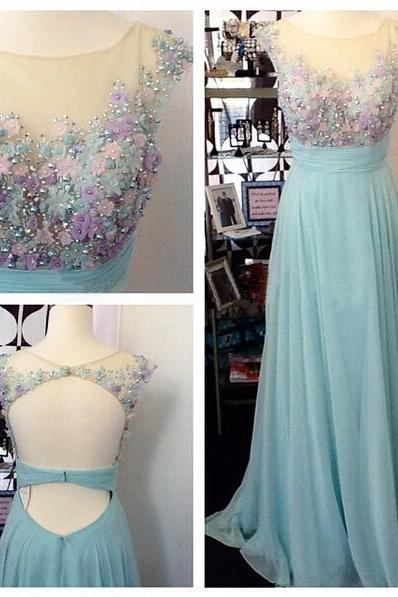 Long prom dress, junior prom dress, cap sleeve prom dress, open back prom dress, pretty prom dress, evening dress, PD13026