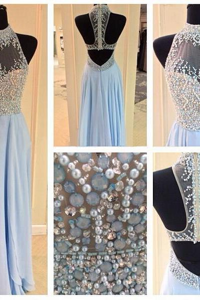 Long prom dress, junior prom dress, beading prom dress, blue prom dress, open back prom dress, charming prom dress, evening dress, PD13027