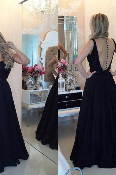 Long prom dress, black prom dress, sweet heart prom dress, elegant prom dress, modest prom dress, chiffon prom dress, evening dress, PD13029