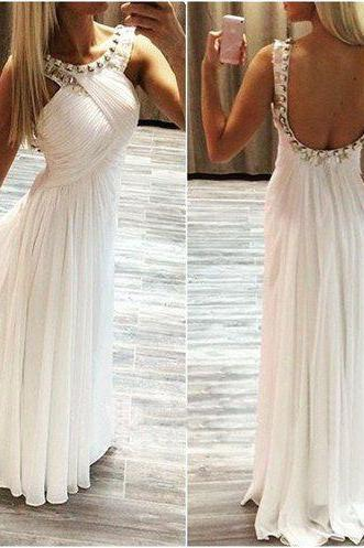 Long prom dress, white prom dress, simple prom dress, chiffon prom dress, open back prom dress, modest prom dress, custom prom dress, on sale prom dress, PD13043