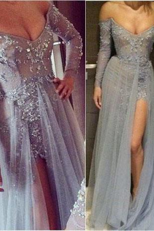 Long prom dress, long sleeve prom dress, new arrival prom dress, tulle prom dress, popular prom dress, elegant prom dress, sexy prom dress, evening dress, PD13054