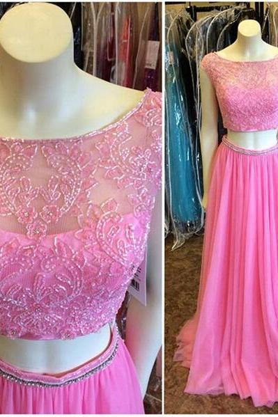 Long prom dress, pink prom dress, charming prom dress, elegant prom dress, cap sleeve prom dress, two piece prom dress, junior prom dress, evening dress, PD13062