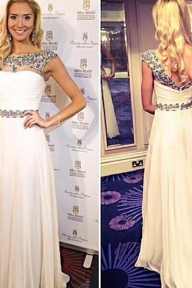 long prom dress, cap sleeve prom dress, popular prom dress, formal prom dress, on sale prom dress, elegant prom dress, evening dress, PD18002