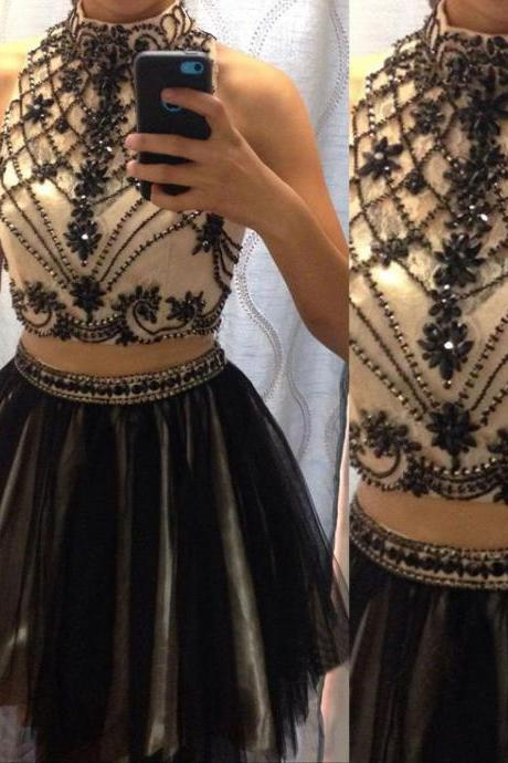 short prom dress, black prom dress, knee-length prom dress, homecoming dress, junior prom dress, two piece prom dress, party dress, PD13095