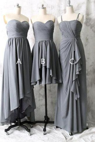 long bridesmaid dress, grey bridesmaid dress, mismatched bridesmaid dress, dress for bridesmaid, chiffon bridesmaid dress, cheap prom dress, BD1840