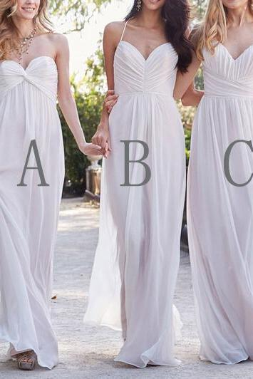 Custom Made White Ruched Floor Length Chiffon Mismatched Bridesmaid Dress