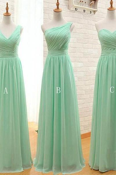 long bridesmaid dress, mint bridesmaid dress, mismatched bridesmaid dress, dress for wedding, chiffon bridesmaid dress, wedding party dress, BD1852