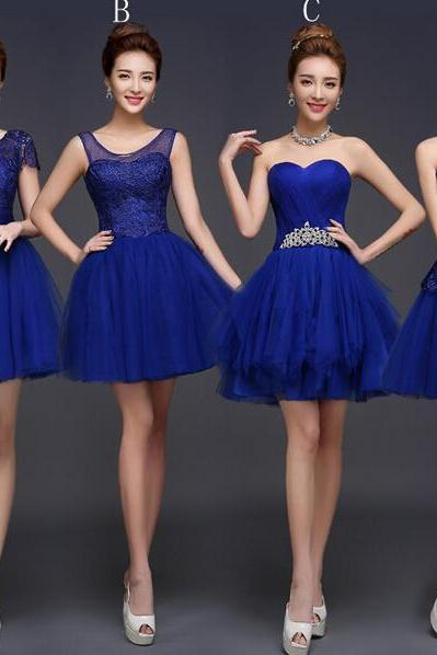 short bridesmaid dress, royal blue bridesmaid dress, knee-length bridesmaid dress, occasion dress, junior bridesmaid dress, mismatched bridesmaid dress, BD50125