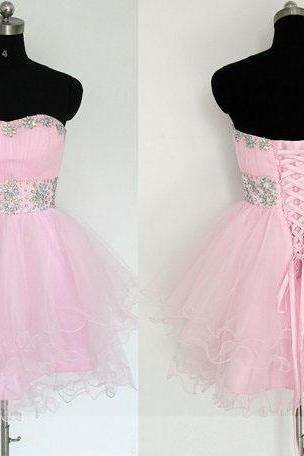 short prom dress, pink prom dress, sweet heart prom dress, cheap prom dress, knee-length prom dress, lace up prom dress, occasion dress, homecoming dress, PD19106