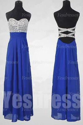 long prom dress, backless prom dress, royal blue prom dress, sweet heart prom dress, cheap prom dress, evening dress, PD18037
