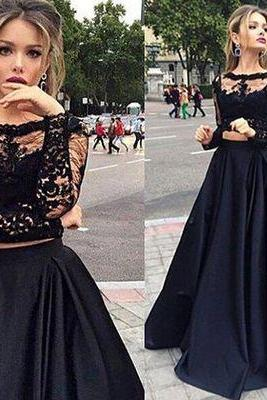 Two piece prom dress, long prom dress, lace prom dress, long sleeves prom dress, charming prom dress, junior prom dress, elegant prom dress, cheap prom dress, PD125168
