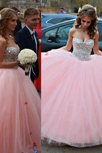 long prom dress, pink prom dress, elegant prom dress, sweet heart prom dress, formal prom dress, evening dress, ball gown prom dress, pretty dress, PD155198