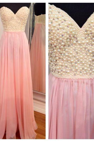 Pink prom dress, beading prom dress, long prom dress, sweet heart prom dress, charming prom dress, gorgeous prom dress, juniors prom dress, pretty prom dress, evening party dress, PD155219