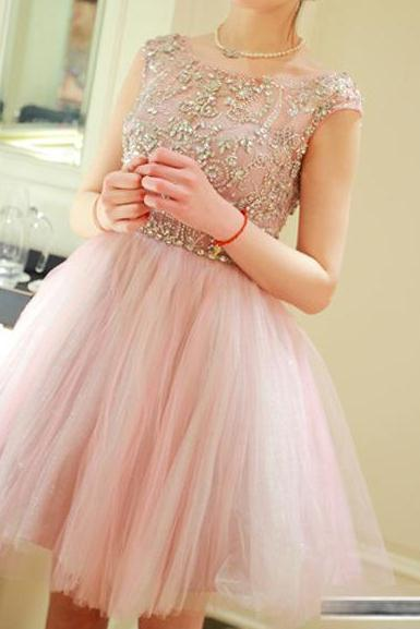 Pink prom dress, cheap homecoming dress, lovely homecoming dress, dress for graduation, occasion dress, junior homecoming dress, short prom dress, homecoming dress, 155258