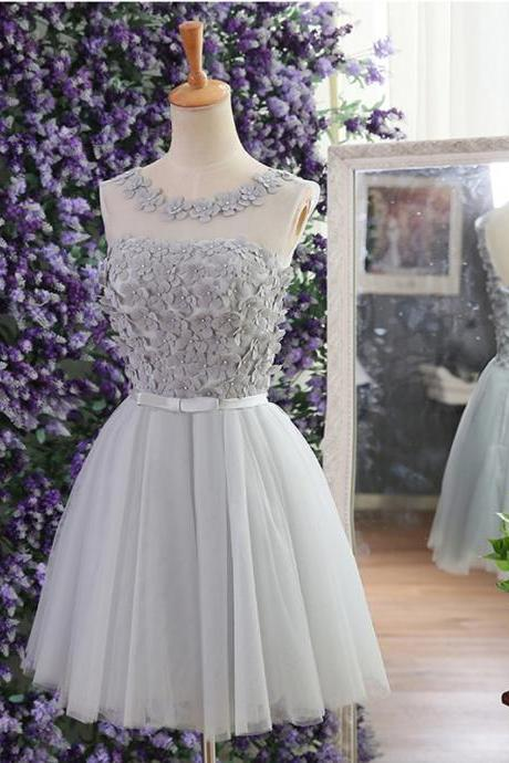 Cheap homecoming dress, lace up prom dress, cute homecoming dress with handmade flowers, silver prom dress, dress for graduation, junior homecoming dress, short prom dress, homecoming dress, 155259