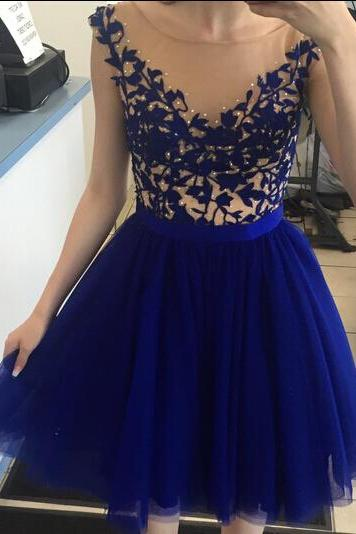 Popular homecoming dresses, royal blue homecoming dress with applique, junior prom dress, knee-length prom dress, best sale homecoming dress, 2016 homecoming dress, homecoming dress, 155260