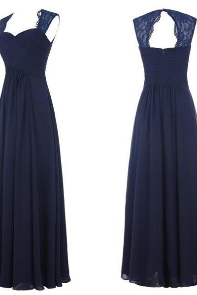 Navy blue bridesmaid dress, chiffon long bridesmaid dress, cheap lace bridesmaid dress, elegant sweet heart bridesmaid dress, dress for wedding, long bridesmaid dress, 20390