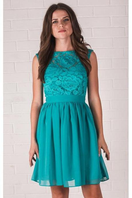 Short bridesmaid dress, lace bridesmaid dress, turquoise bridesmaid dress, popular knee-length bridesmaid dreses, junior cheap bridesmaid dress, short bridesmaid dress, 20405