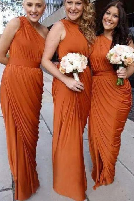 One shoulderbridesmaid dress, floor length bridesmaid dress, pleating bridesmaid dress, elegant bridesmaid dress online, sexy bridesmaid dress, long bridesmaid dress, 20505
