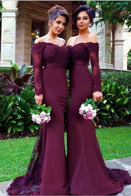 Long Sleeve Bridesmaid Dresses, Mermaid Long Bridesmaid Dress, Elegant Lace Bridesmaid Dress, Wedding Guest Dress, long bridesmaid dress, dress for wedding, wedding party dress, 20508