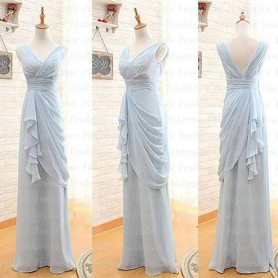 Chiffon bridesmaid dress, long bridesmaid dress, on sale bridesmaid dress, cheap bridesmaid dress, blue bridesmaid dress, unique bridesmaid dress, PD1120