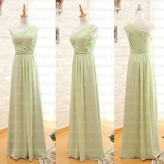 Green Chiffon Ruched One-Shoulder Floor Length A-Line Bridesmaid Dress